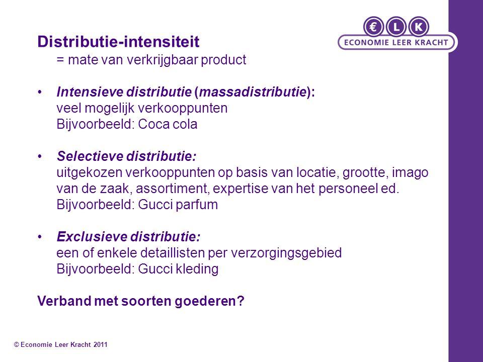 Distributie-intensiteit = mate van verkrijgbaar product Intensieve distributie (massadistributie): veel mogelijk verkooppunten Bijvoorbeeld: Coca cola