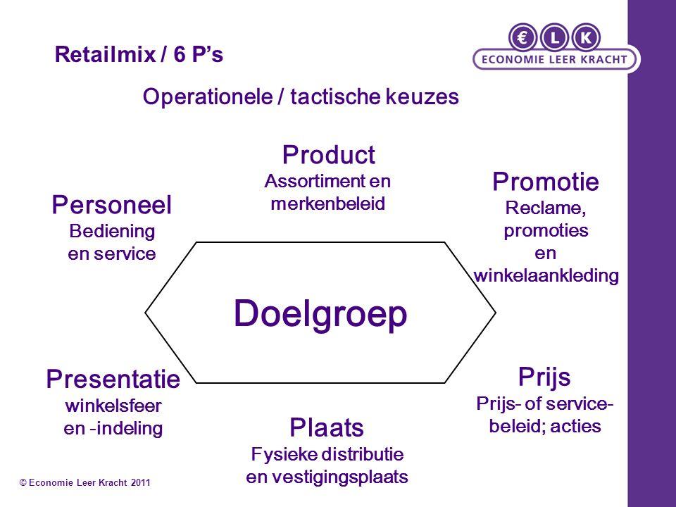Retailmix / 6 P's Operationele / tactische keuzes Product Assortiment en merkenbeleid Plaats Fysieke distributie en vestigingsplaats Promotie Reclame,