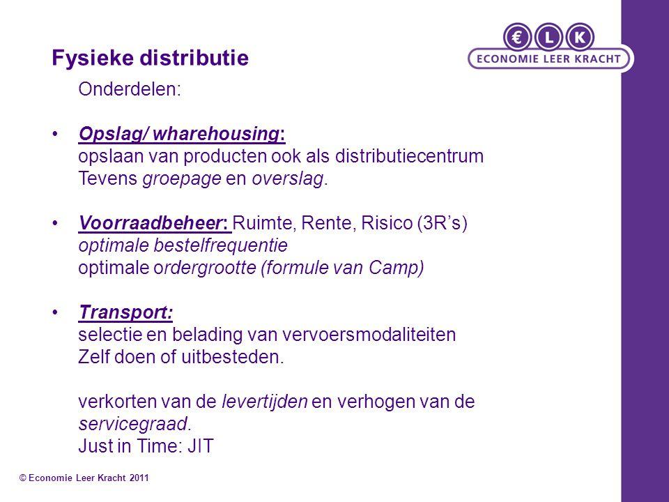 Fysieke distributie Onderdelen: Opslag/ wharehousing: opslaan van producten ook als distributiecentrum Tevens groepage en overslag. Voorraadbeheer: Ru