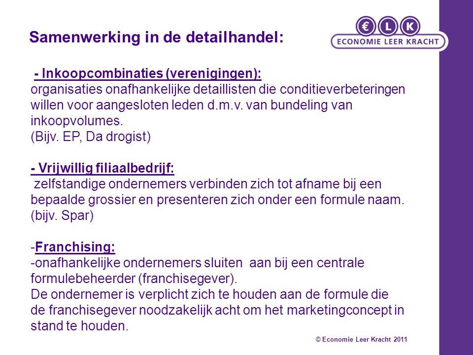 - Inkoopcombinaties (verenigingen): organisaties onafhankelijke detaillisten die conditieverbeteringen willen voor aangesloten leden d.m.v.