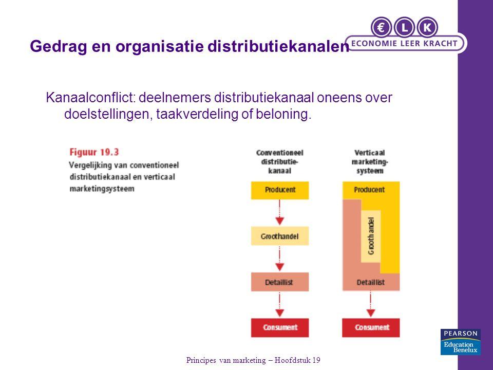 Gedrag en organisatie distributiekanalen Kanaalconflict: deelnemers distributiekanaal oneens over doelstellingen, taakverdeling of beloning.