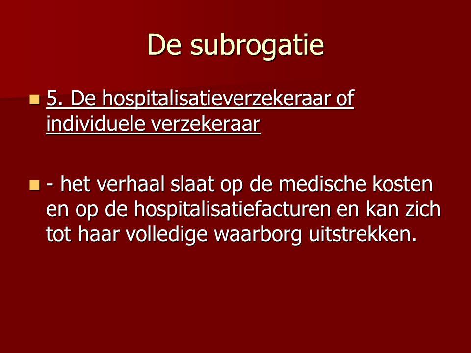 De subrogatie 5.De hospitalisatieverzekeraar of individuele verzekeraar 5.