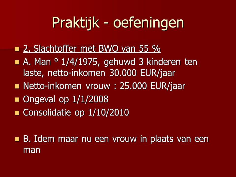 Praktijk - oefeningen 2. Slachtoffer met BWO van 55 % 2. Slachtoffer met BWO van 55 % A. Man ° 1/4/1975, gehuwd 3 kinderen ten laste, netto-inkomen 30
