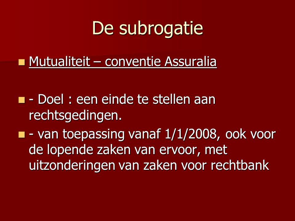 De subrogatie Mutualiteit – conventie Assuralia Mutualiteit – conventie Assuralia - Doel : een einde te stellen aan rechtsgedingen. - Doel : een einde