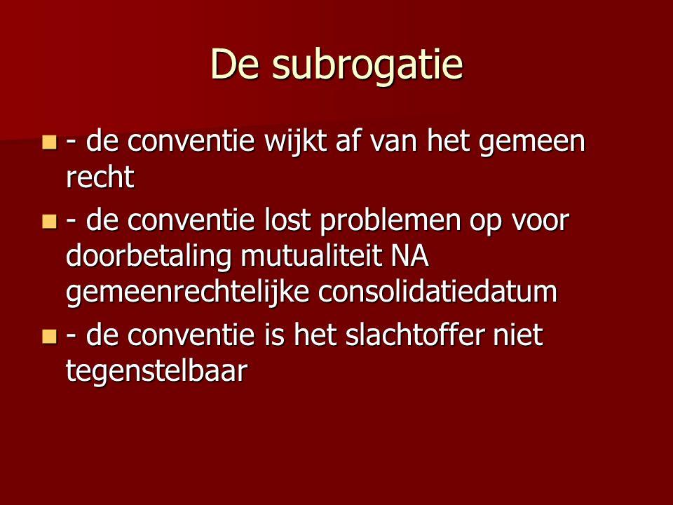 De subrogatie - de conventie wijkt af van het gemeen recht - de conventie wijkt af van het gemeen recht - de conventie lost problemen op voor doorbeta