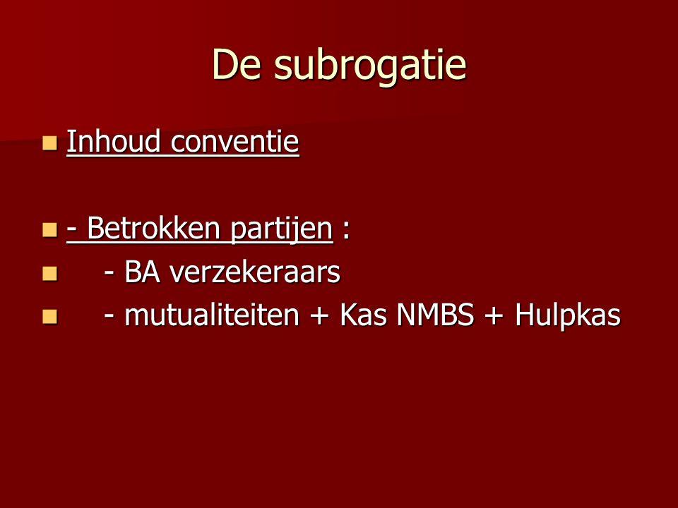 De subrogatie Inhoud conventie Inhoud conventie - Betrokken partijen : - Betrokken partijen : - BA verzekeraars - BA verzekeraars - mutualiteiten + Kas NMBS + Hulpkas - mutualiteiten + Kas NMBS + Hulpkas