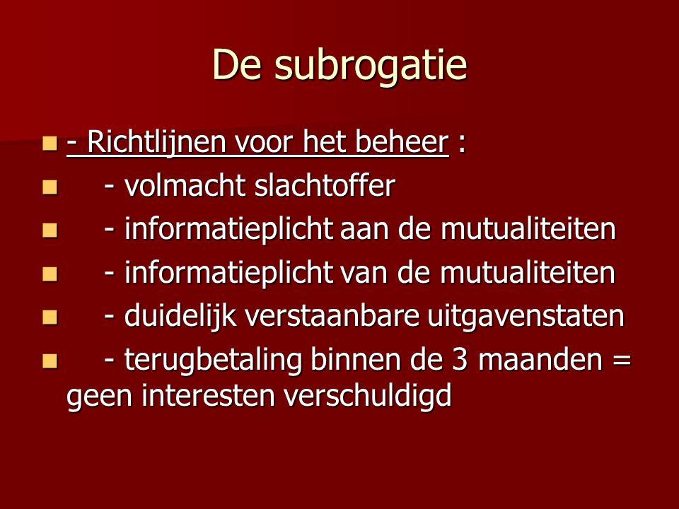 De subrogatie - Richtlijnen voor het beheer : - Richtlijnen voor het beheer : - volmacht slachtoffer - volmacht slachtoffer - informatieplicht aan de