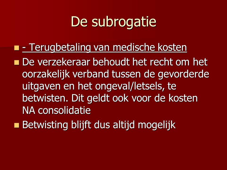 De subrogatie - Terugbetaling van medische kosten - Terugbetaling van medische kosten De verzekeraar behoudt het recht om het oorzakelijk verband tussen de gevorderde uitgaven en het ongeval/letsels, te betwisten.