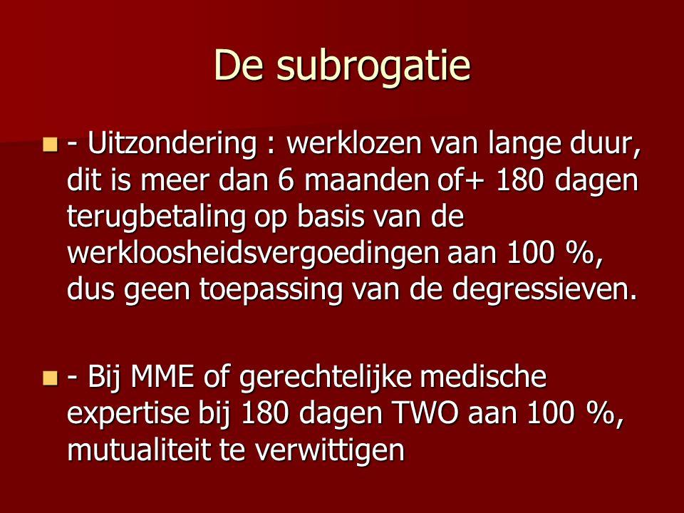 De subrogatie - Uitzondering : werklozen van lange duur, dit is meer dan 6 maanden of+ 180 dagen terugbetaling op basis van de werkloosheidsvergoedingen aan 100 %, dus geen toepassing van de degressieven.