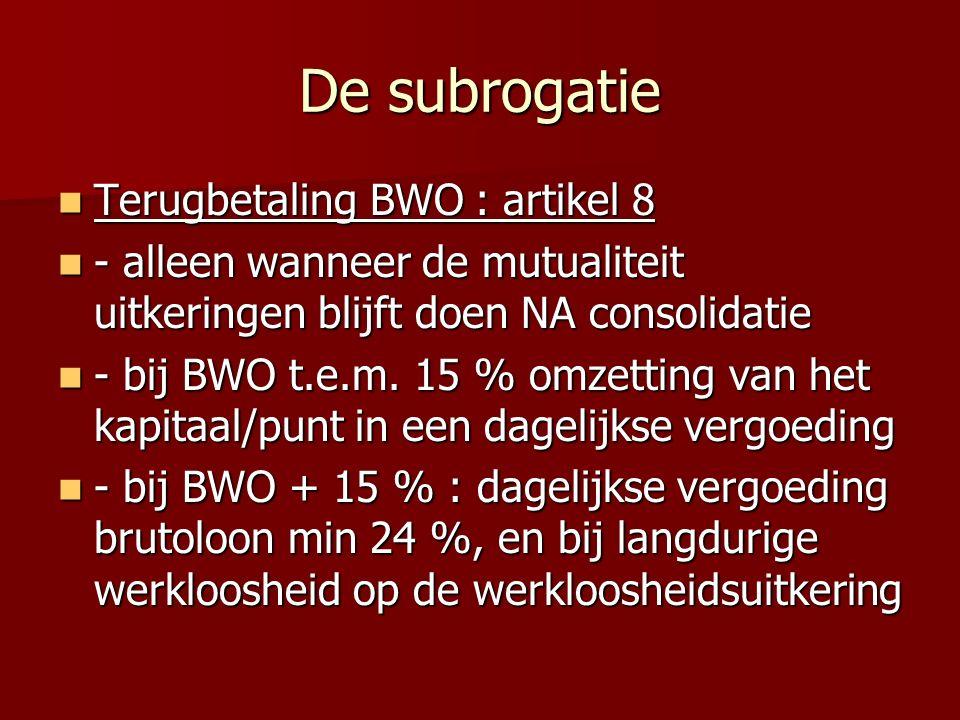 De subrogatie Terugbetaling BWO : artikel 8 Terugbetaling BWO : artikel 8 - alleen wanneer de mutualiteit uitkeringen blijft doen NA consolidatie - alleen wanneer de mutualiteit uitkeringen blijft doen NA consolidatie - bij BWO t.e.m.