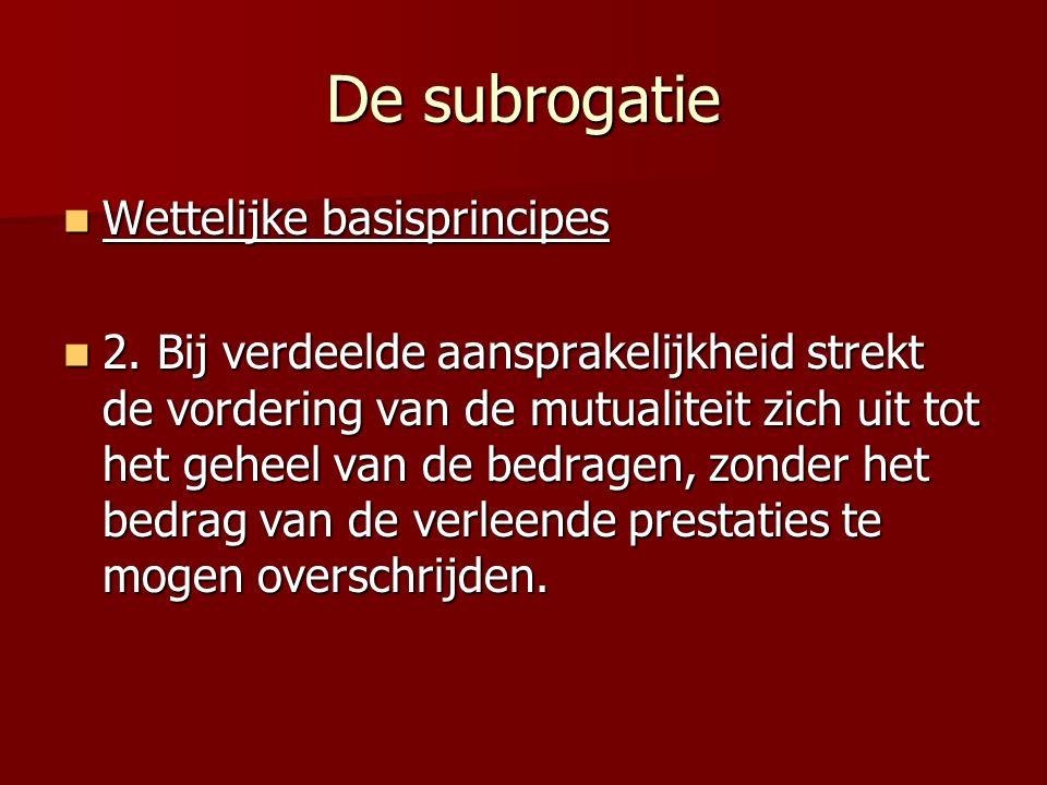 De subrogatie Wettelijke basisprincipes Wettelijke basisprincipes 2.