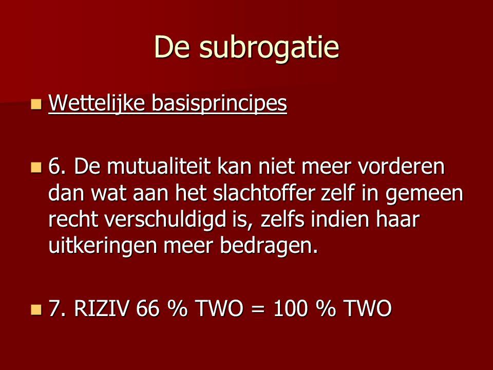 De subrogatie Wettelijke basisprincipes Wettelijke basisprincipes 6. De mutualiteit kan niet meer vorderen dan wat aan het slachtoffer zelf in gemeen