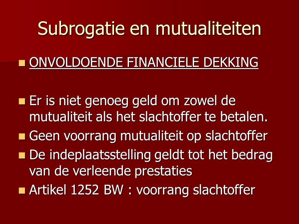 Subrogatie en mutualiteiten ONVOLDOENDE FINANCIELE DEKKING ONVOLDOENDE FINANCIELE DEKKING Er is niet genoeg geld om zowel de mutualiteit als het slachtoffer te betalen.