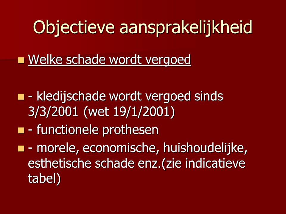 Objectieve aansprakelijkheid Welke schade wordt vergoed Welke schade wordt vergoed - kledijschade wordt vergoed sinds 3/3/2001 (wet 19/1/2001) - kledijschade wordt vergoed sinds 3/3/2001 (wet 19/1/2001) - functionele prothesen - functionele prothesen - morele, economische, huishoudelijke, esthetische schade enz.(zie indicatieve tabel) - morele, economische, huishoudelijke, esthetische schade enz.(zie indicatieve tabel)