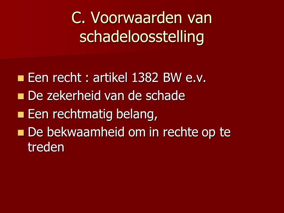 C. Voorwaarden van schadeloosstelling Een recht : artikel 1382 BW e.v. Een recht : artikel 1382 BW e.v. De zekerheid van de schade De zekerheid van de