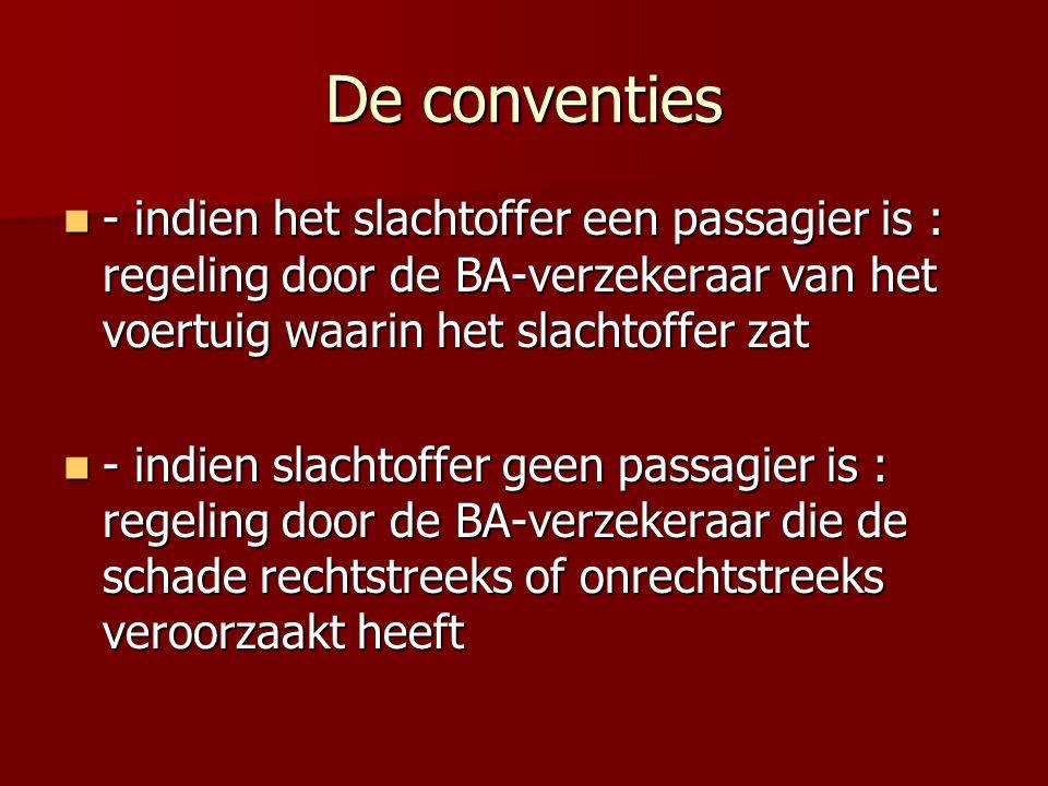 De conventies - indien het slachtoffer een passagier is : regeling door de BA-verzekeraar van het voertuig waarin het slachtoffer zat - indien het sla