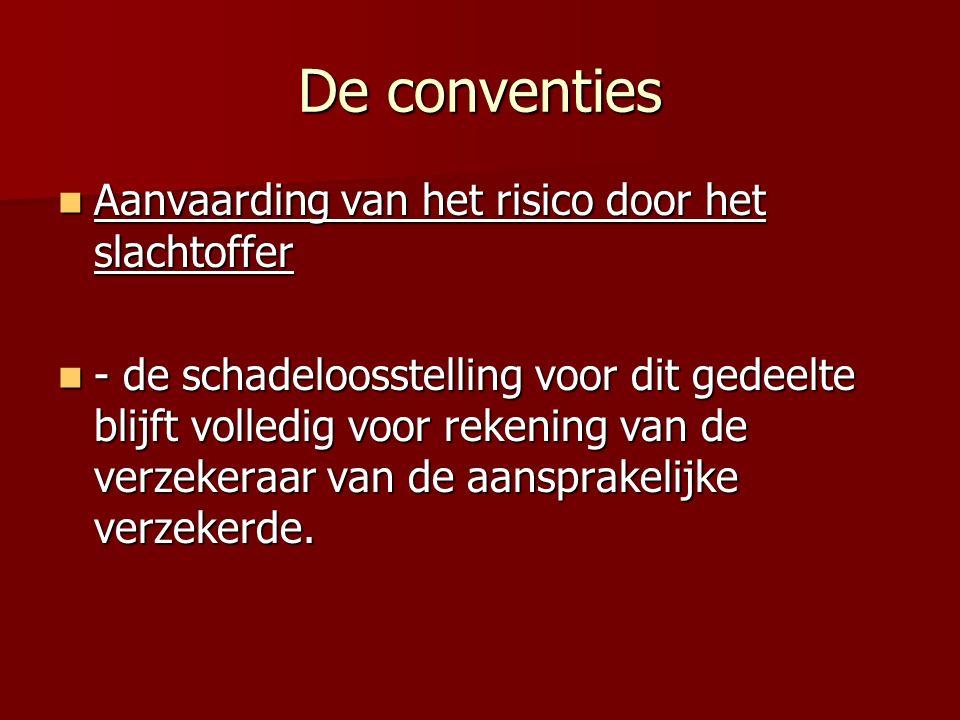De conventies Aanvaarding van het risico door het slachtoffer Aanvaarding van het risico door het slachtoffer - de schadeloosstelling voor dit gedeelte blijft volledig voor rekening van de verzekeraar van de aansprakelijke verzekerde.