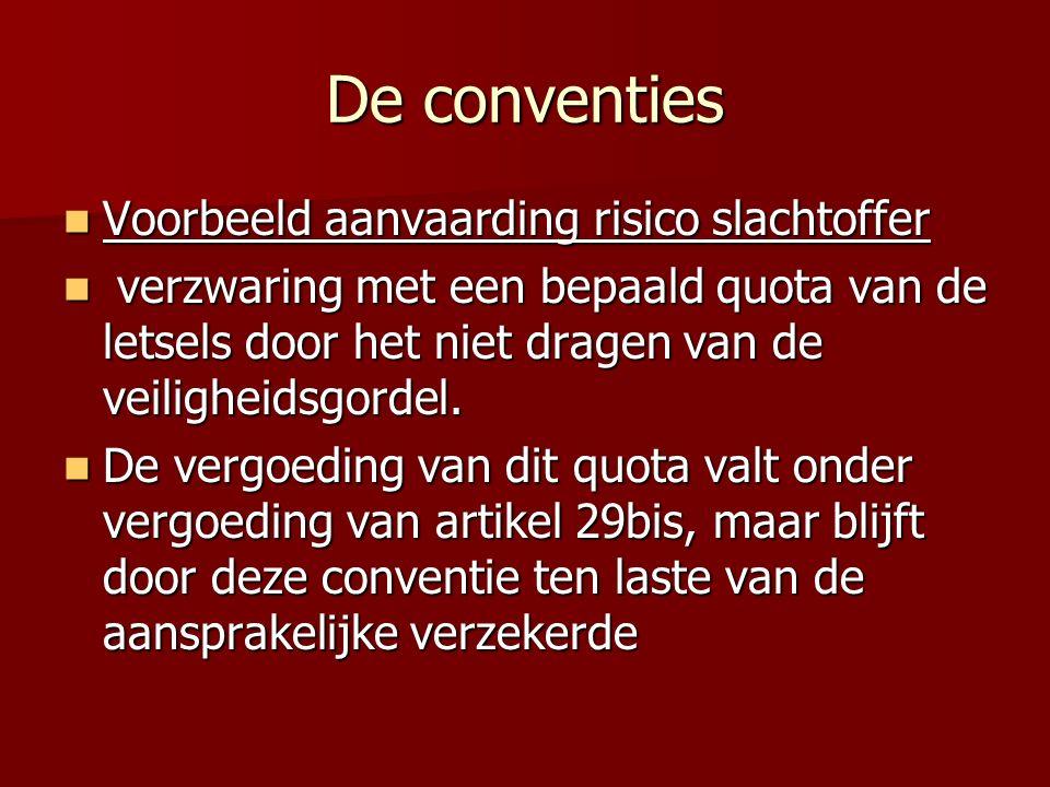 De conventies Voorbeeld aanvaarding risico slachtoffer Voorbeeld aanvaarding risico slachtoffer verzwaring met een bepaald quota van de letsels door het niet dragen van de veiligheidsgordel.
