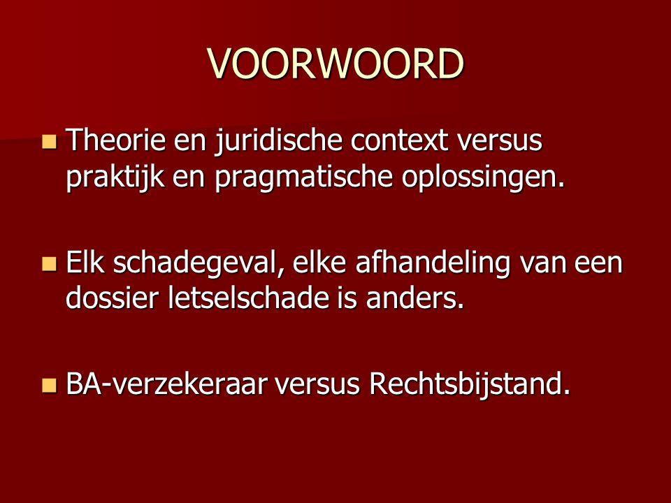 VOORWOORD Theorie en juridische context versus praktijk en pragmatische oplossingen. Theorie en juridische context versus praktijk en pragmatische opl