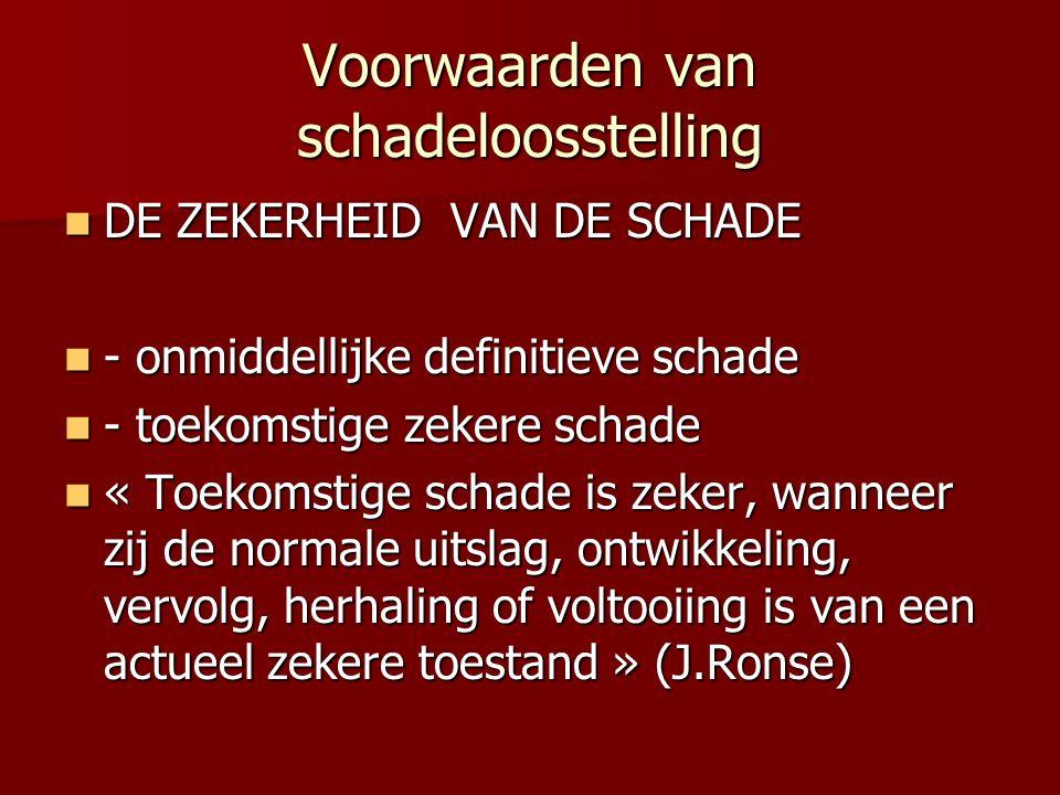 Voorwaarden van schadeloosstelling DE ZEKERHEID VAN DE SCHADE DE ZEKERHEID VAN DE SCHADE - onmiddellijke definitieve schade - onmiddellijke definitieve schade - toekomstige zekere schade - toekomstige zekere schade « Toekomstige schade is zeker, wanneer zij de normale uitslag, ontwikkeling, vervolg, herhaling of voltooiing is van een actueel zekere toestand » (J.Ronse) « Toekomstige schade is zeker, wanneer zij de normale uitslag, ontwikkeling, vervolg, herhaling of voltooiing is van een actueel zekere toestand » (J.Ronse)