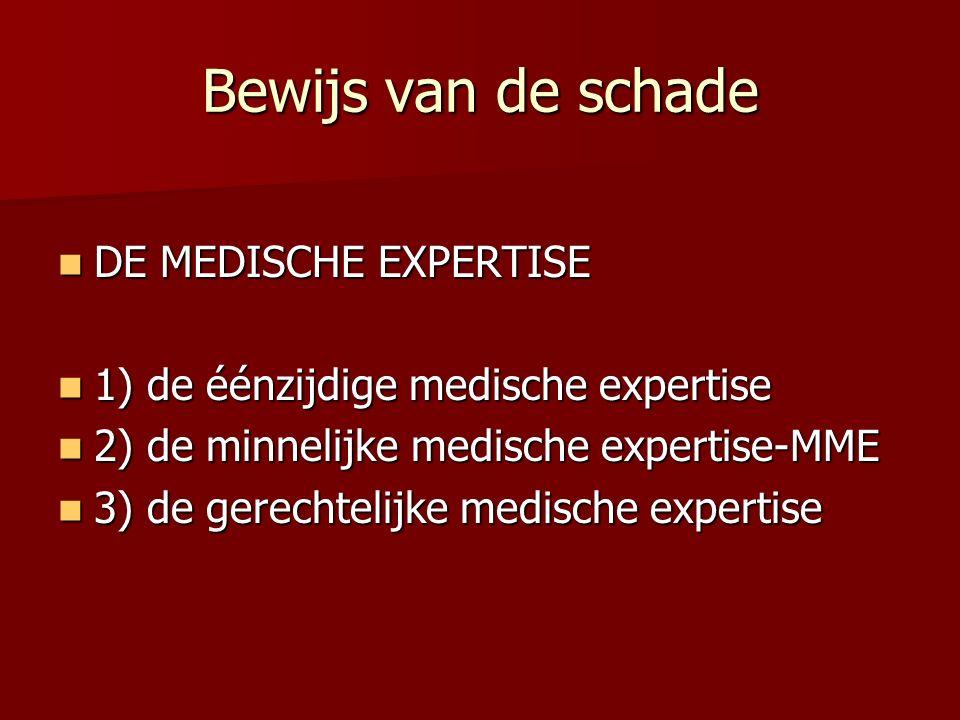 Bewijs van de schade DE MEDISCHE EXPERTISE DE MEDISCHE EXPERTISE 1) de éénzijdige medische expertise 1) de éénzijdige medische expertise 2) de minnelijke medische expertise-MME 2) de minnelijke medische expertise-MME 3) de gerechtelijke medische expertise 3) de gerechtelijke medische expertise