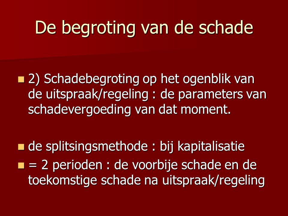 De begroting van de schade 2) Schadebegroting op het ogenblik van de uitspraak/regeling : de parameters van schadevergoeding van dat moment. 2) Schade