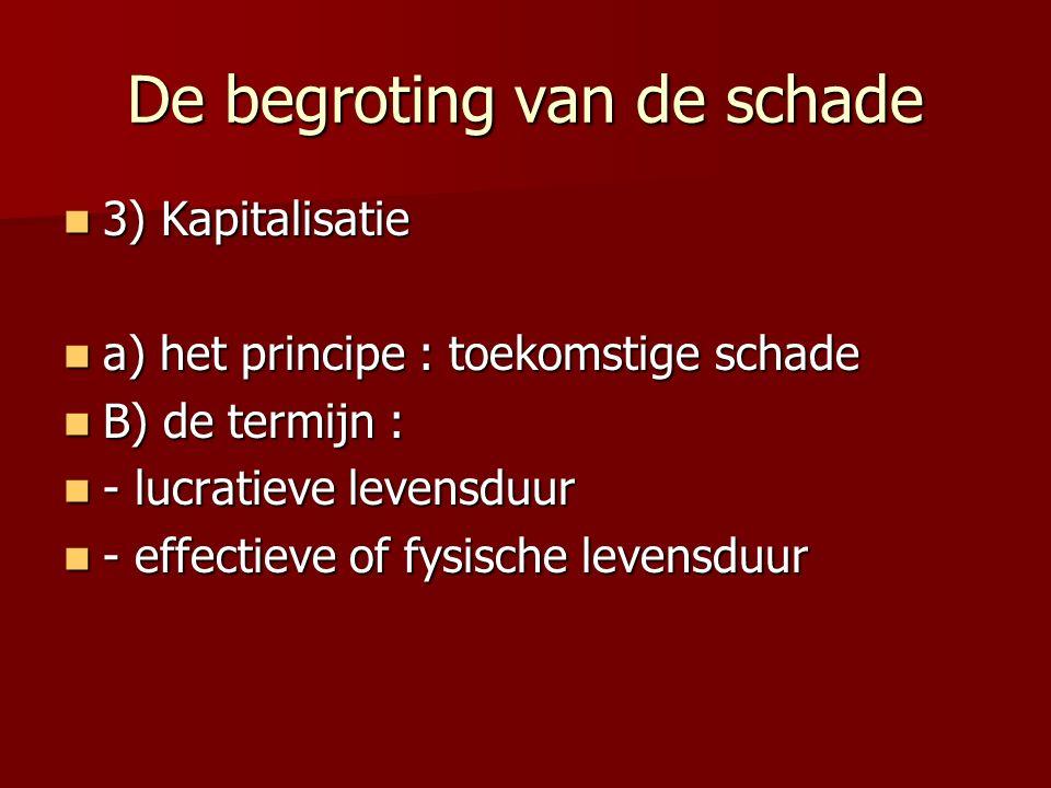 De begroting van de schade 3) Kapitalisatie 3) Kapitalisatie a) het principe : toekomstige schade a) het principe : toekomstige schade B) de termijn :