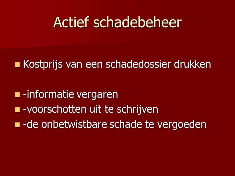 Actief schadebeheer Kostprijs van een schadedossier drukken Kostprijs van een schadedossier drukken -informatie vergaren -informatie vergaren -voorsch