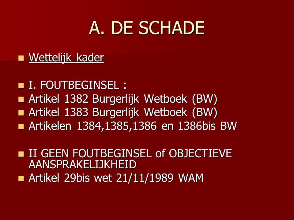 A.DE SCHADE Wettelijk kader Wettelijk kader I. FOUTBEGINSEL : I.