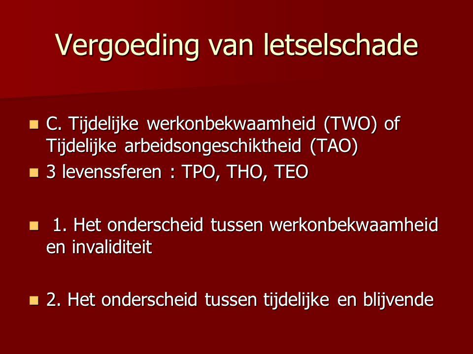 Vergoeding van letselschade C. Tijdelijke werkonbekwaamheid (TWO) of Tijdelijke arbeidsongeschiktheid (TAO) C. Tijdelijke werkonbekwaamheid (TWO) of T