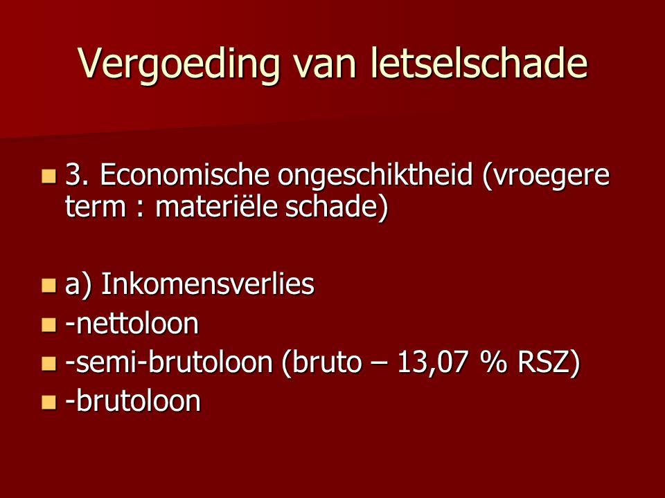 Vergoeding van letselschade 3.Economische ongeschiktheid (vroegere term : materiële schade) 3.