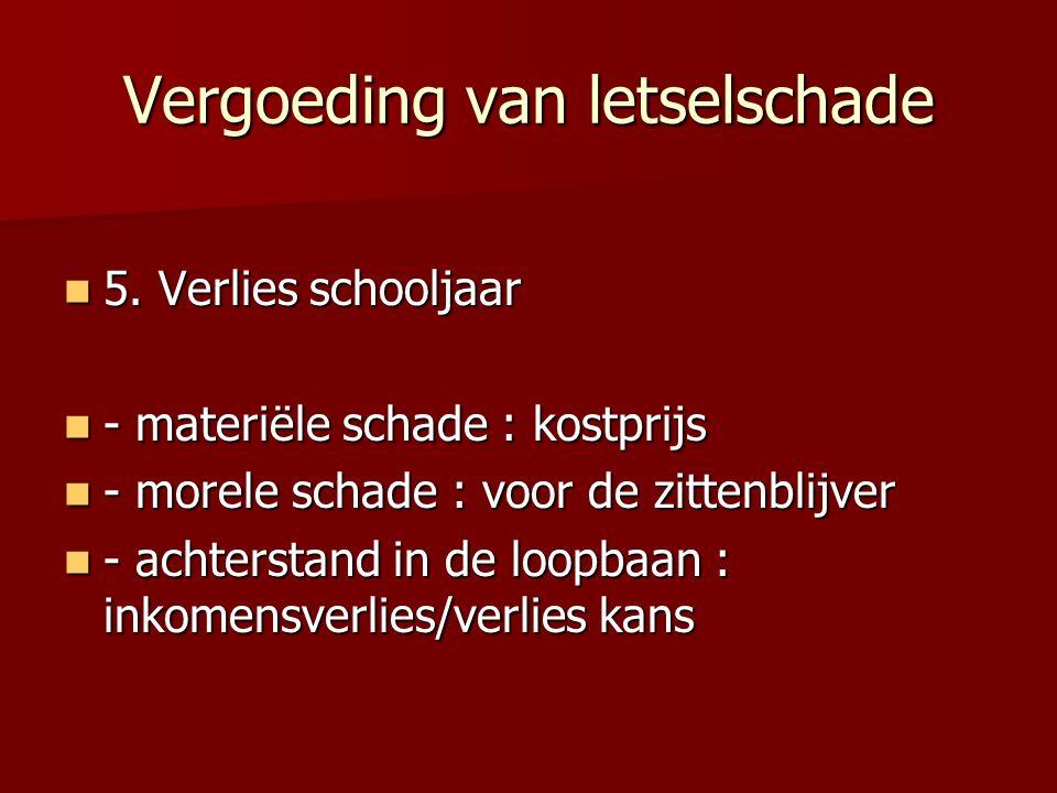 Vergoeding van letselschade 5. Verlies schooljaar 5. Verlies schooljaar - materiële schade : kostprijs - materiële schade : kostprijs - morele schade