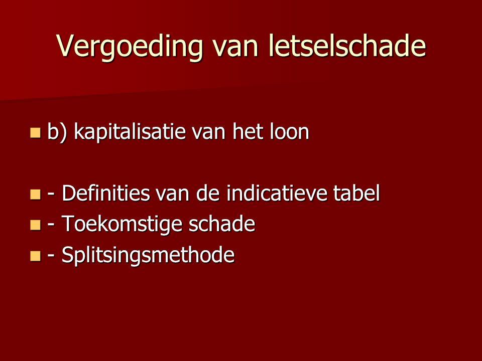 Vergoeding van letselschade b) kapitalisatie van het loon b) kapitalisatie van het loon - Definities van de indicatieve tabel - Definities van de indicatieve tabel - Toekomstige schade - Toekomstige schade - Splitsingsmethode - Splitsingsmethode