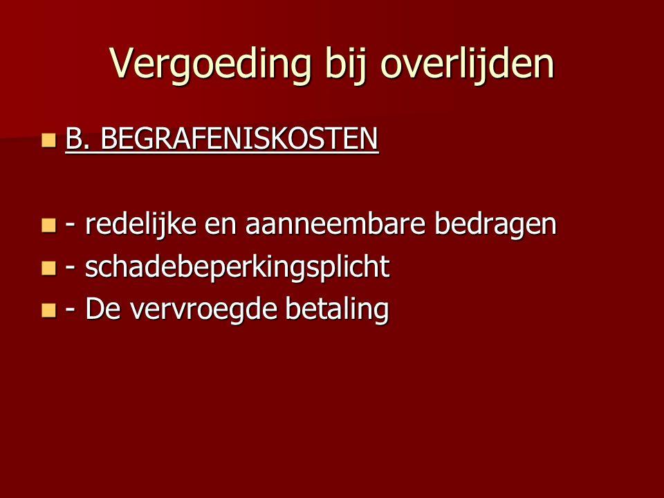Vergoeding bij overlijden B.BEGRAFENISKOSTEN B.