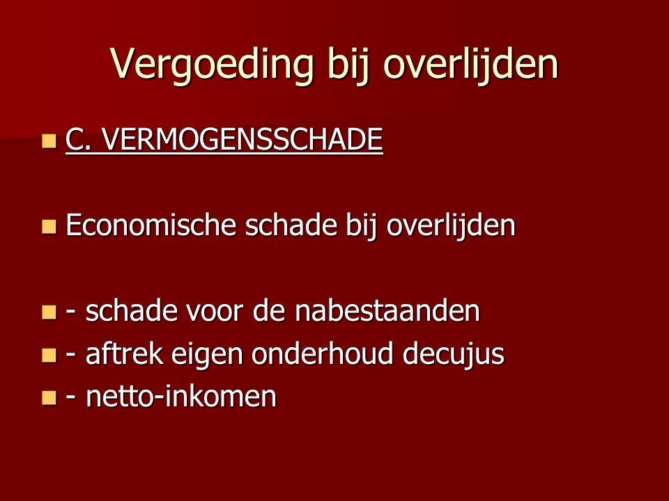 Vergoeding bij overlijden C.VERMOGENSSCHADE C.