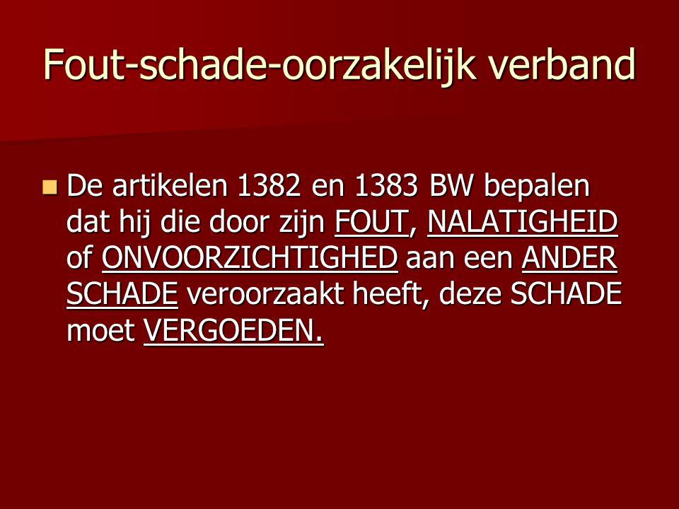 Fout-schade-oorzakelijk verband De artikelen 1382 en 1383 BW bepalen dat hij die door zijn FOUT, NALATIGHEID of ONVOORZICHTIGHED aan een ANDER SCHADE veroorzaakt heeft, deze SCHADE moet VERGOEDEN.