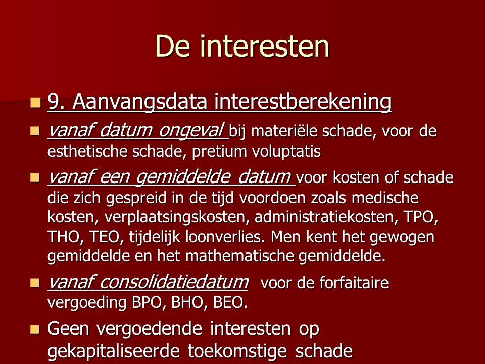 De interesten 9.Aanvangsdata interestberekening 9.