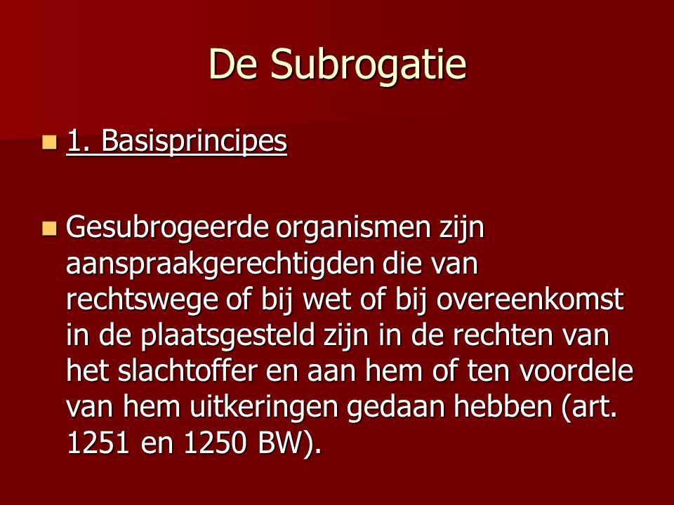 De Subrogatie 1. Basisprincipes 1. Basisprincipes Gesubrogeerde organismen zijn aanspraakgerechtigden die van rechtswege of bij wet of bij overeenkoms