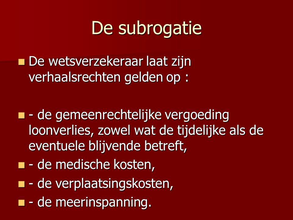 De subrogatie De wetsverzekeraar laat zijn verhaalsrechten gelden op : De wetsverzekeraar laat zijn verhaalsrechten gelden op : - de gemeenrechtelijke vergoeding loonverlies, zowel wat de tijdelijke als de eventuele blijvende betreft, - de gemeenrechtelijke vergoeding loonverlies, zowel wat de tijdelijke als de eventuele blijvende betreft, - de medische kosten, - de medische kosten, - de verplaatsingskosten, - de verplaatsingskosten, - de meerinspanning.