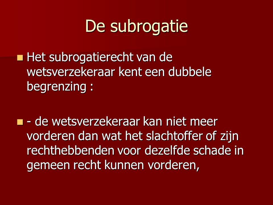 De subrogatie Het subrogatierecht van de wetsverzekeraar kent een dubbele begrenzing : Het subrogatierecht van de wetsverzekeraar kent een dubbele beg