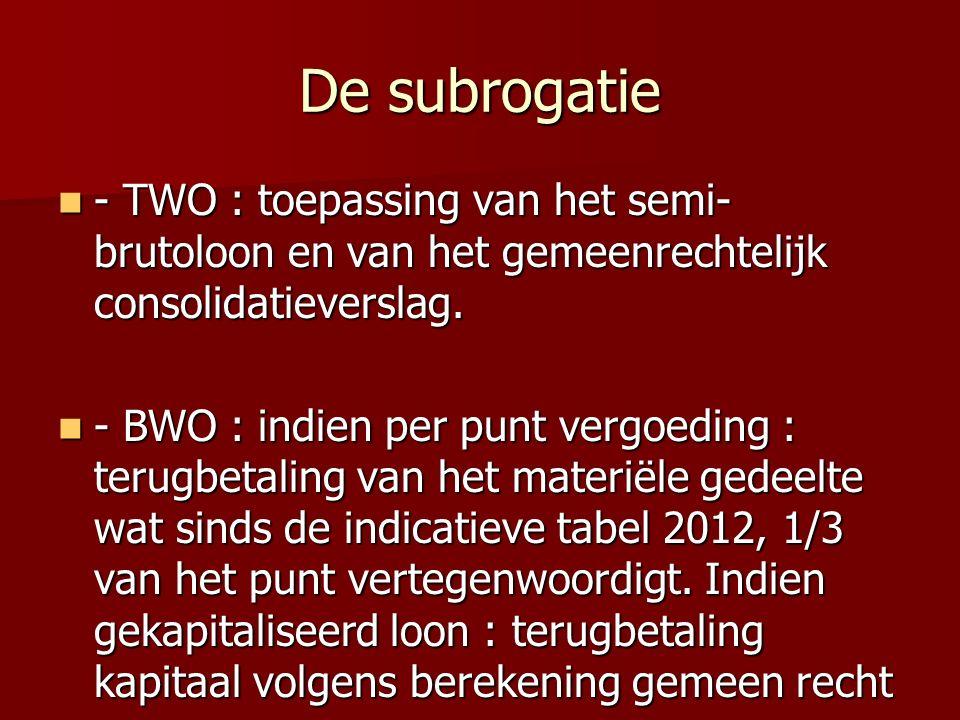 De subrogatie - TWO : toepassing van het semi- brutoloon en van het gemeenrechtelijk consolidatieverslag.