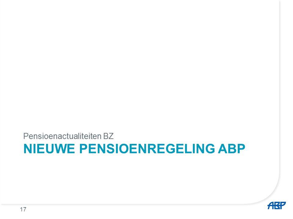 NIEUWE PENSIOENREGELING ABP Pensioenactualiteiten BZ 17