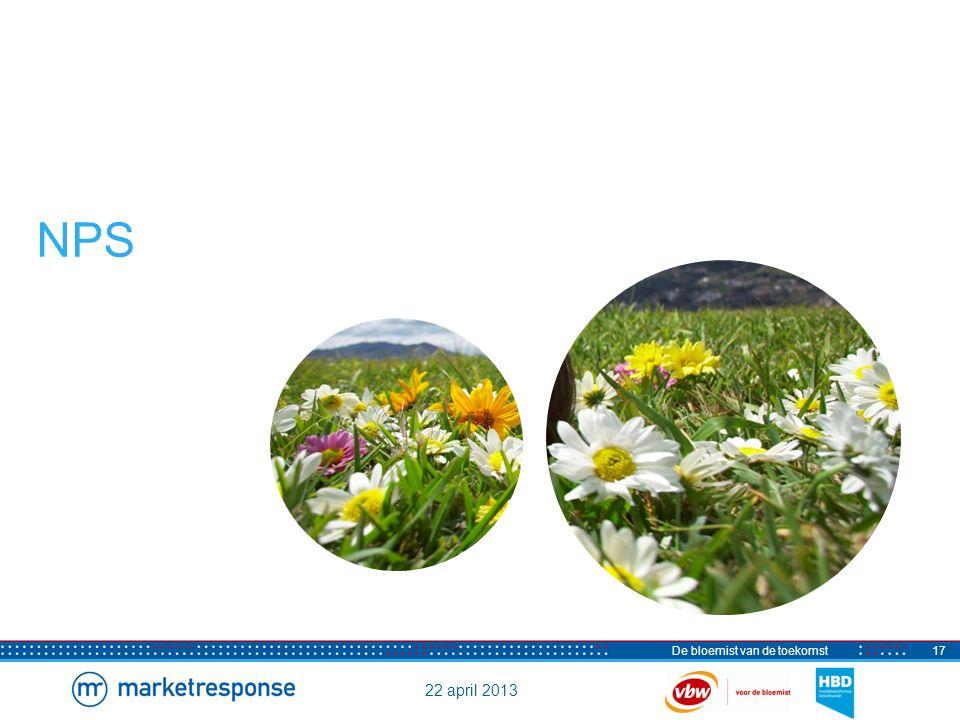 22 april 2013 De bloemist van de toekomst18 NPS consumenten Sterke binding met de bloemist onder klanten van Mijn Bloemist De NPS onder consumenten van Mijn Bloeminst is zeer hoog te noemen (NPS: 39).