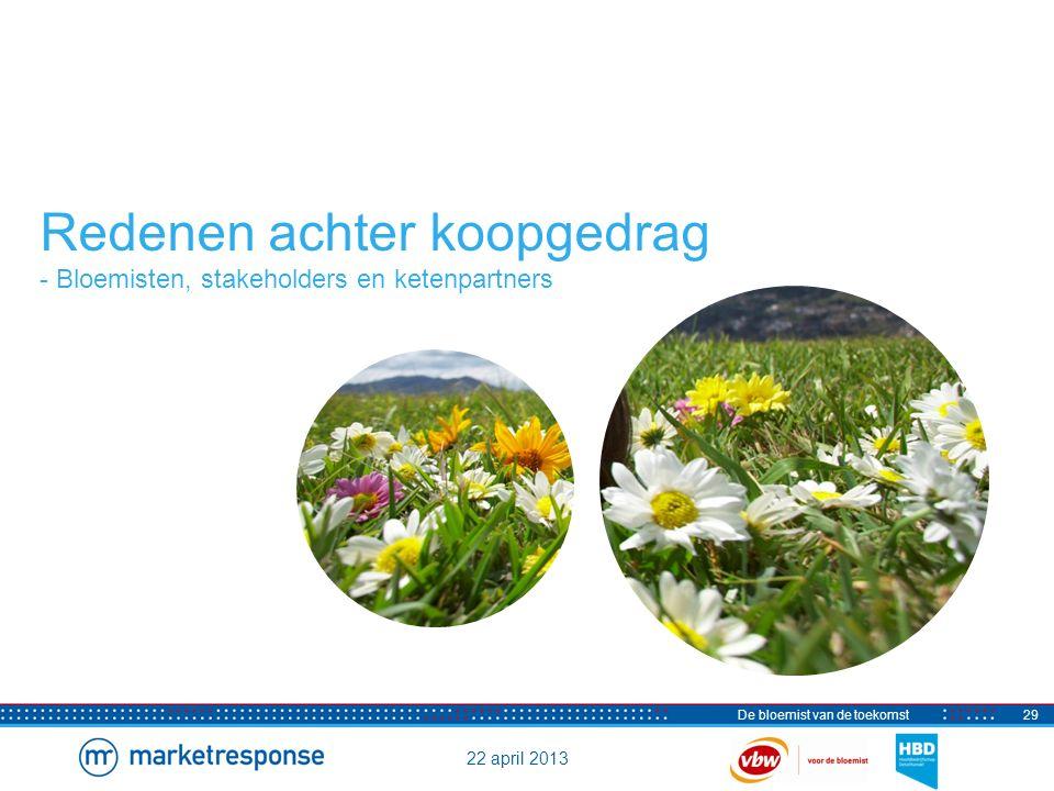 22 april 2013 De bloemist van de toekomst30 Redenen om wel te kopen bij de bloemist Kwaliteit en creativiteit belangrijste redenen Vraag: Wat zijn volgens u de belangrijkste redenen voor consumenten om bloemen en/of planten bij de bloemist te kopen.