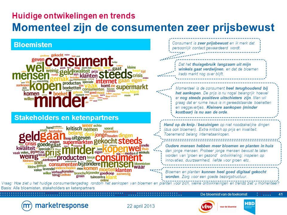 22 april 2013 De bloemist van de toekomst41 Huidige ontwikelingen en trends Momenteel zijn de consumenten zeer prijsbewust Consument is zeer prijsbewu