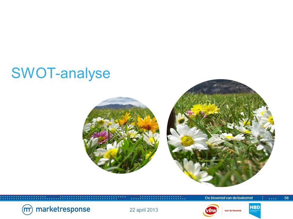 22 april 2013 De bloemist van de toekomst57 SWOT-analyse Sterke punten, zwakke punten, kansen en bedreigingen Sterke punten - Vakmanschap (bruidswerk rouwwerk) - Creativiteit (bijzondere bloemstukken) - Service (op maat gemaakt) - Persoonlijke aandacht (advies) - Kwaliteit (verse bloemen) Zwakke punten - Kosten zijn hoog (overhead en inkoop) - Niet commercieel genoeg (geen duidelijke positionering) - Onvoldoende bedrijfseconomisch handelen (o.a.