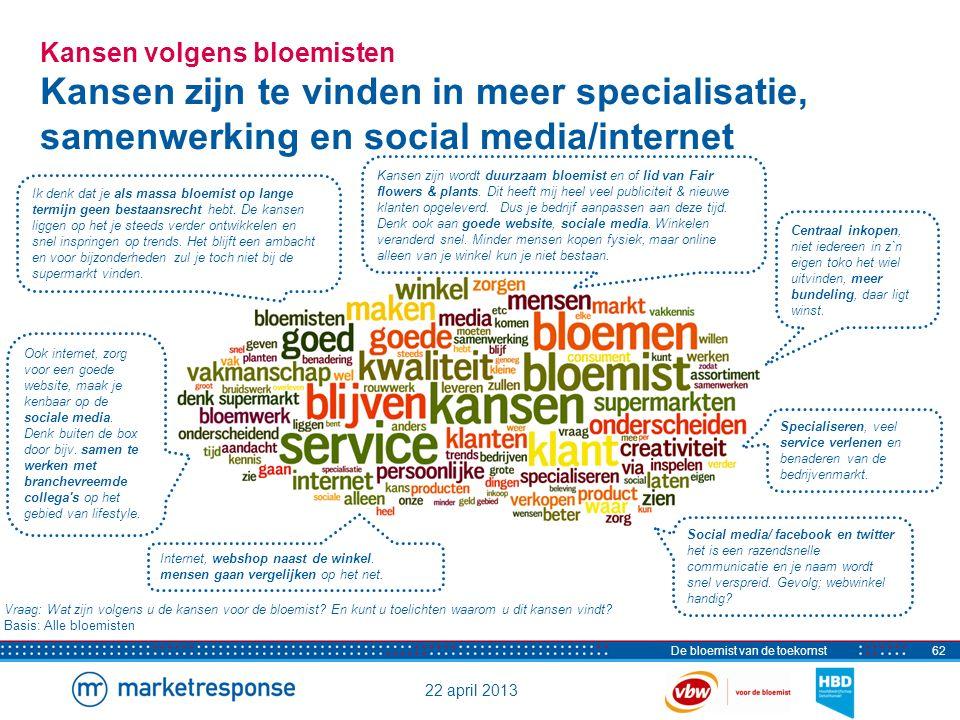 22 april 2013 De bloemist van de toekomst63 Kansen volgens stakeholders en ketenpartners Focus op vakmanschap en onderscheid t.o.v.