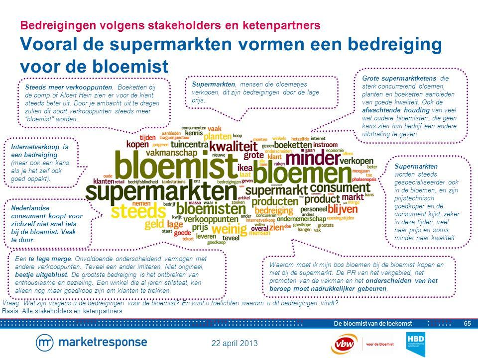 22 april 2013 De bloemist van de toekomst65 Bedreigingen volgens stakeholders en ketenpartners Vooral de supermarkten vormen een bedreiging voor de bl