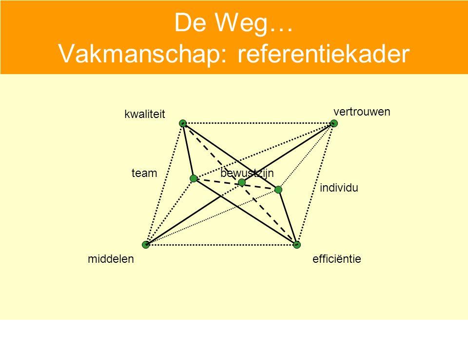 De Weg… Vakmanschap: referentiekader vertrouwen middelenefficiëntie kwaliteit bewustzijn individu team
