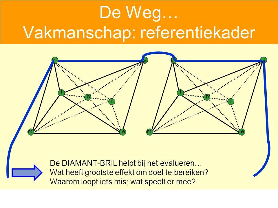 De Weg… Vakmanschap: referentiekader De DIAMANT-BRIL helpt bij het evalueren… Wat heeft grootste effekt om doel te bereiken.